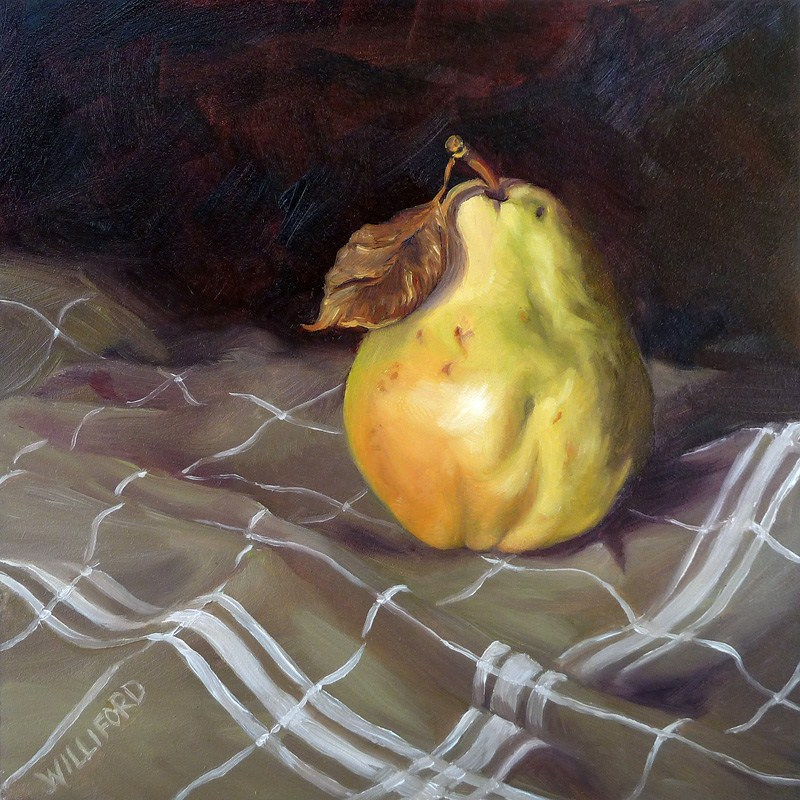 """Pear with White Stripes"" original fine art by Kathleen Williford"