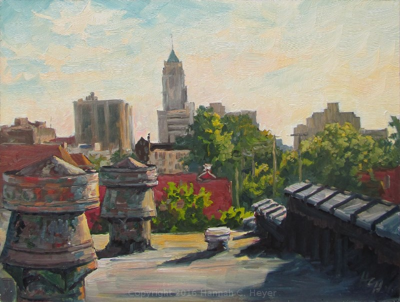 """Evening on the Rooftop"" original fine art by Hannah C. Heyer"