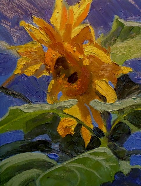 """Yellow Joy sunflower oil painting,"" original fine art by Robin Weiss"