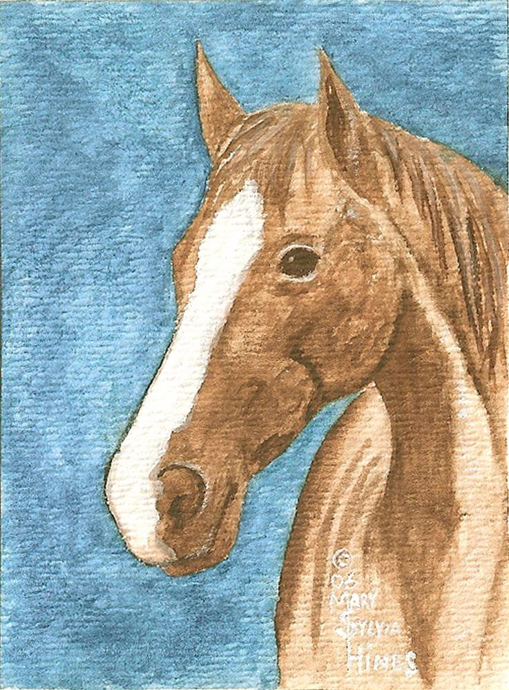 """ACEO Brown Horse v2"" original fine art by Mary Sylvia Hines"