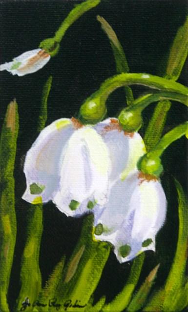 """""""Little Green Dots"""" original fine art by JoAnne Perez Robinson"""