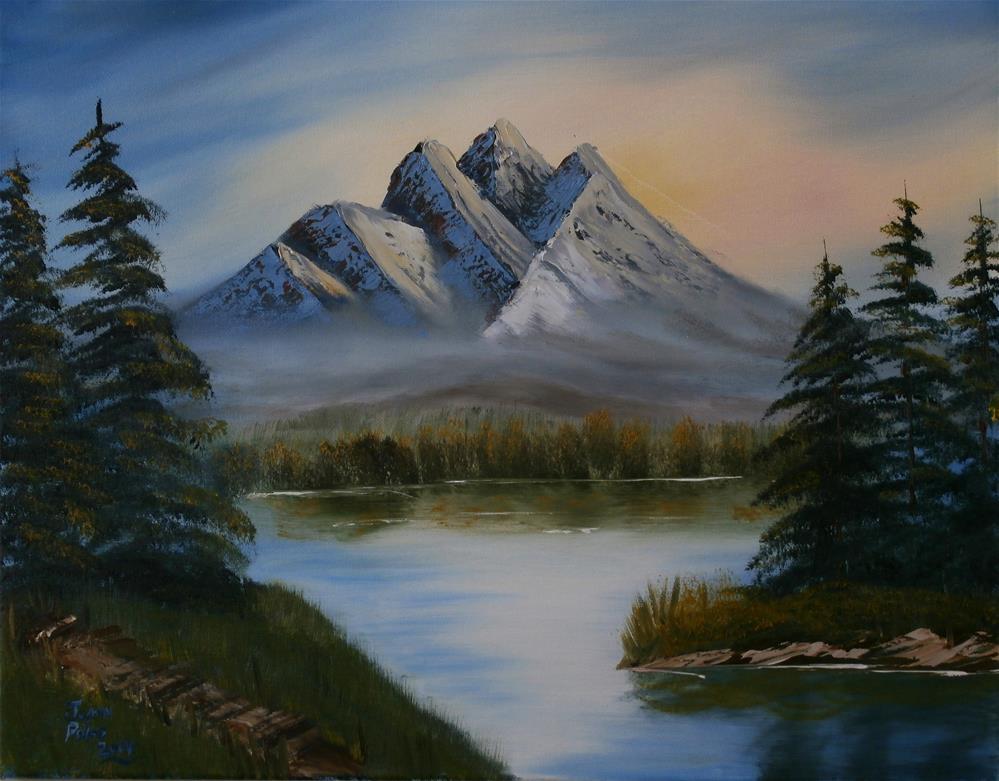 """peaceful mountain"" original fine art by Joann Polos"