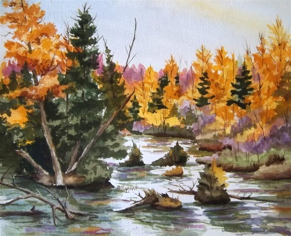 """""""River in Fall"""" original fine art by Becky Chappell"""