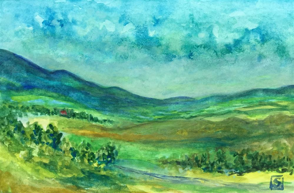 """6082 - Rolling Hills with mat"" original fine art by Sea Dean"