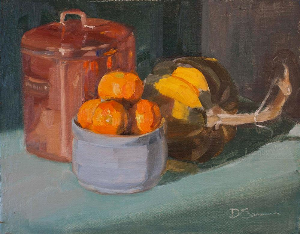 """Clementines and a Squash"" original fine art by Deborah Savo"