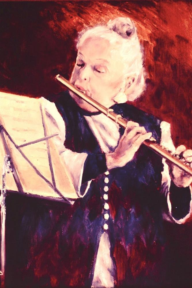 """The Golden Flute, 16x20 Oil on Canvas Portrait"" original fine art by Carmen Beecher"