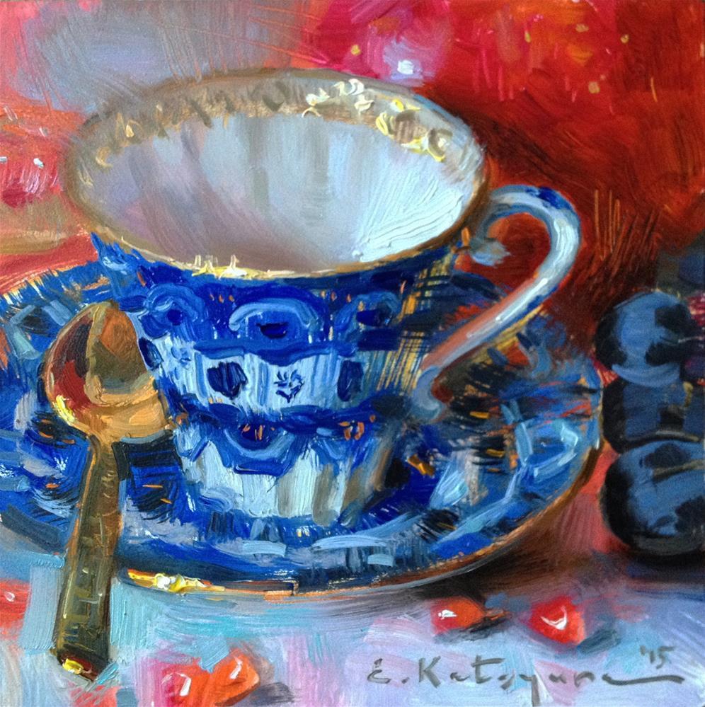 """Teacup and Fruits"" original fine art by Elena Katsyura"