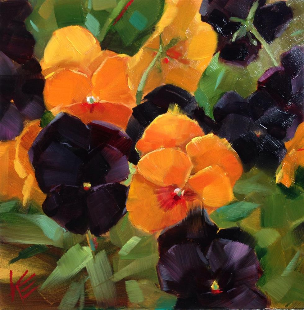 """Pumpkin Spiced Pansies"" original fine art by Krista Eaton"