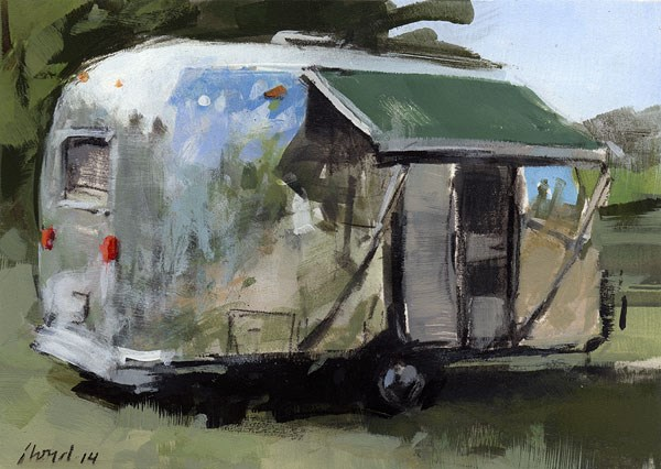"""Airstream with Awning - Sketch"" original fine art by David Lloyd"