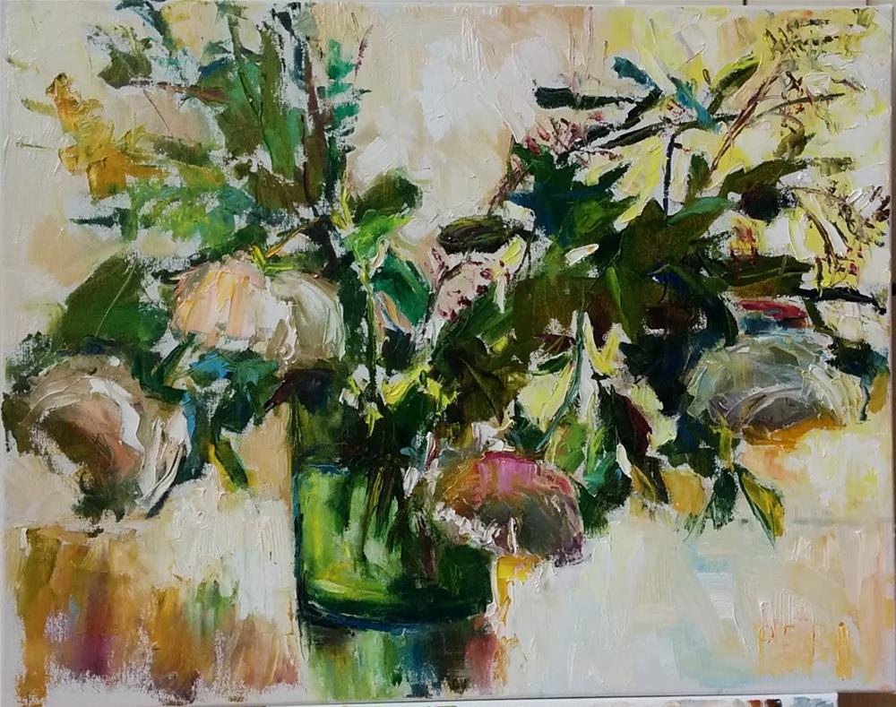 """White Roses"" original fine art by pepa sand"