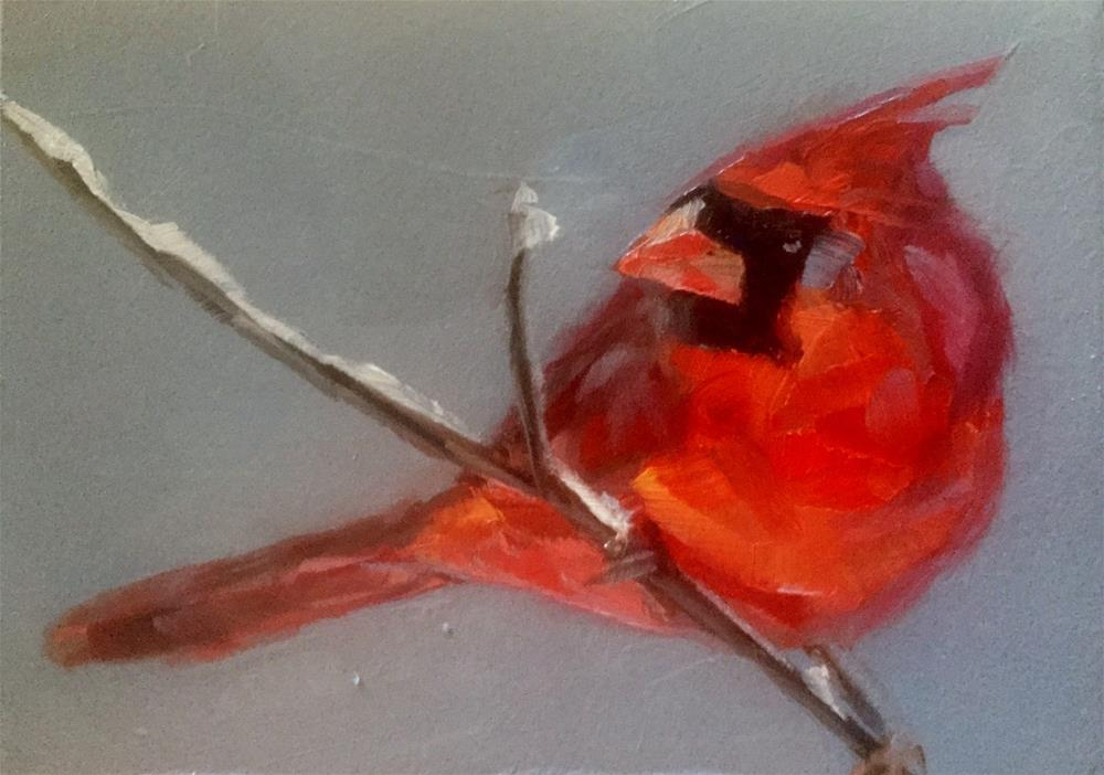 """Cardinal and Snow"" original fine art by Gary Bruton"