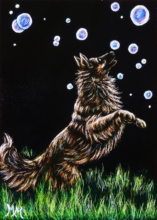 """Chasing Bubbles"" original fine art by Monique Morin Matson"
