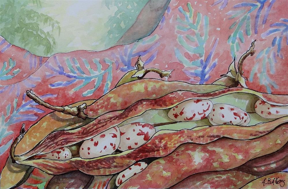 """Speckled Butter Beans on Batik Storybook Cottage Series"" original fine art by Alida Akers"