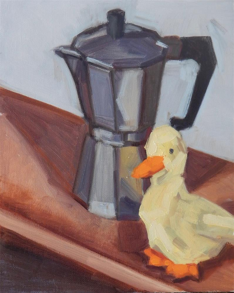 """Coffee Pot With Duck"" original fine art by Megan Schembre"