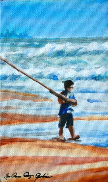 """""""Go Fish"""" original fine art by JoAnne Perez Robinson"""