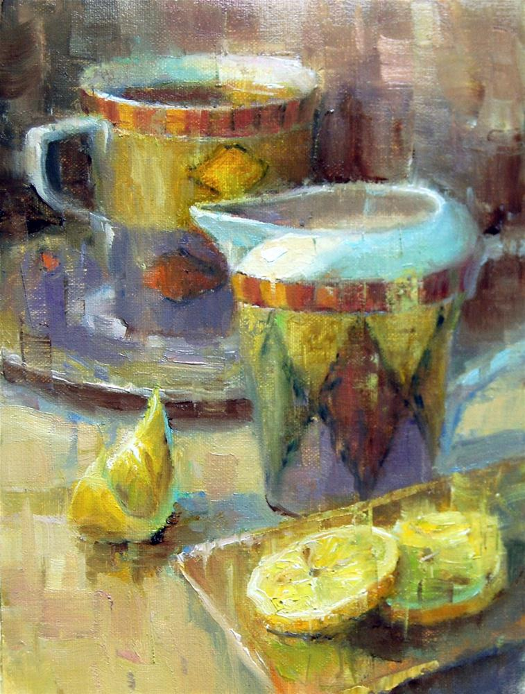 """Milk or Lemon in your Tea?"" original fine art by Julie Ford Oliver"