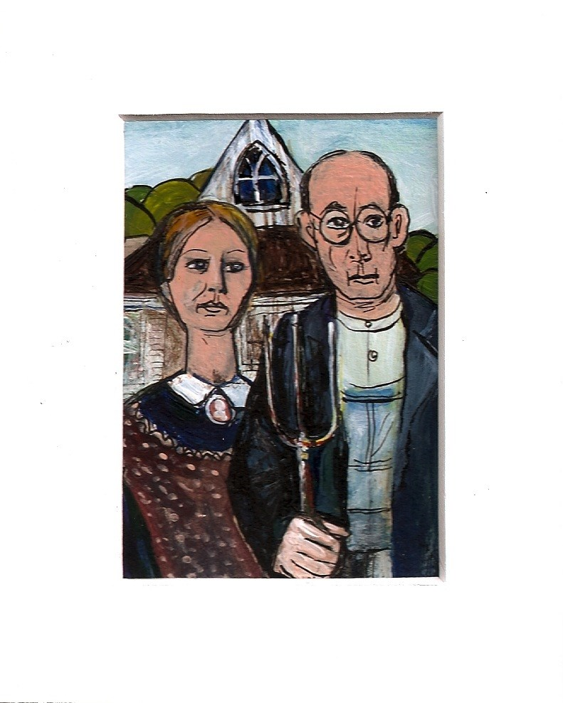 """""""ACEO American Gothic Man Woman a la Grant Wood Painting by Penny StewArt"""" original fine art by Penny Lee StewArt"""