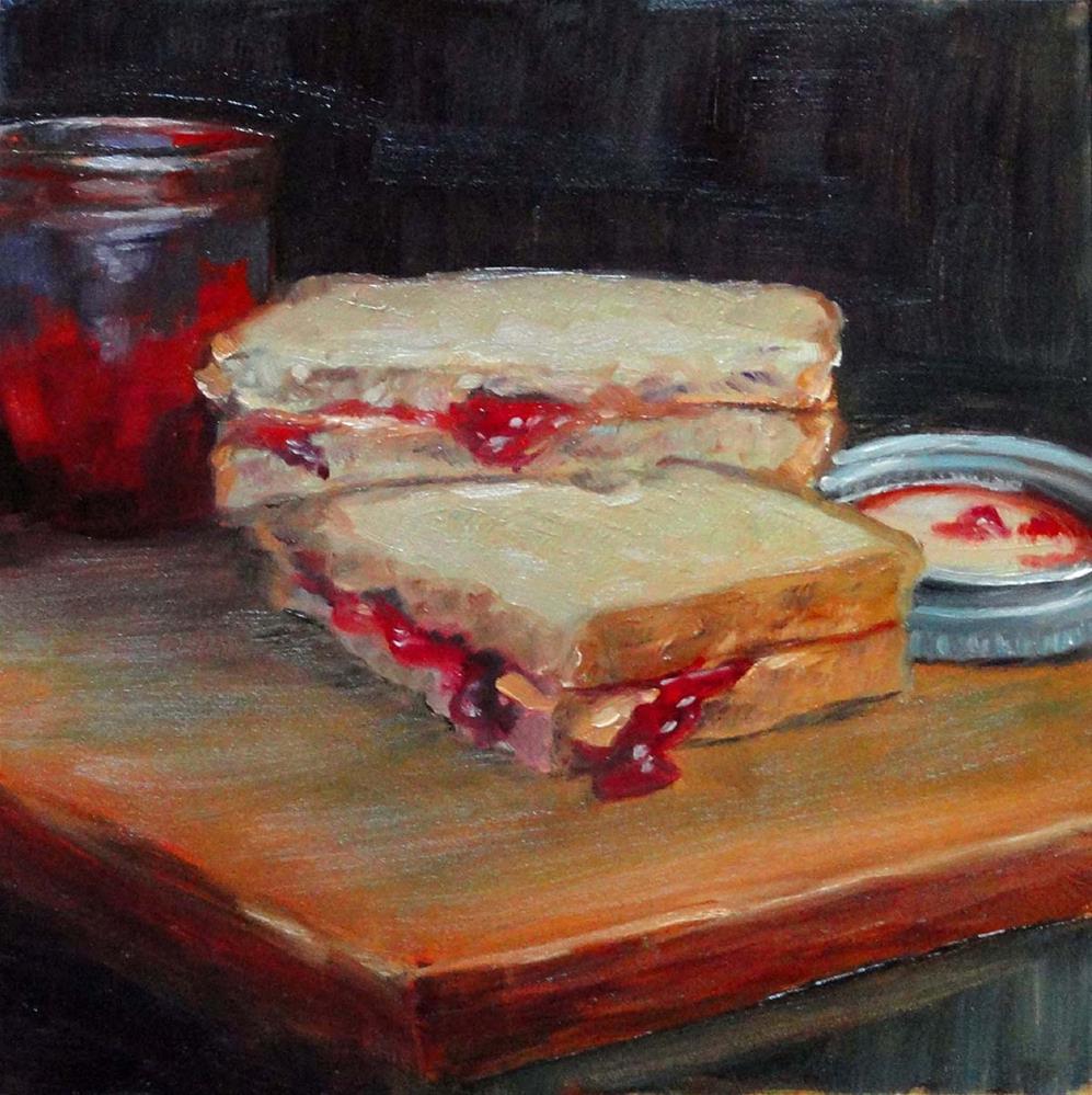 """""""PB&J With Homemade Strawberry Jam"""" original fine art by Cietha Wilson"""