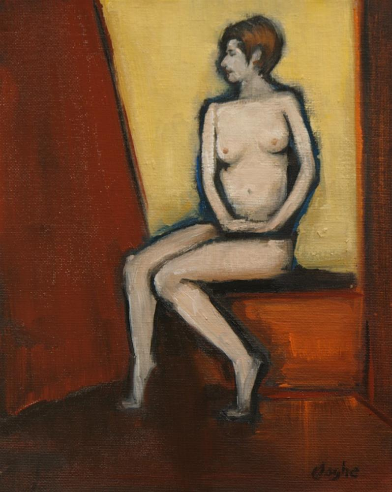 """""""Nude on Yellow and Red"""" original fine art by Angela Ooghe"""