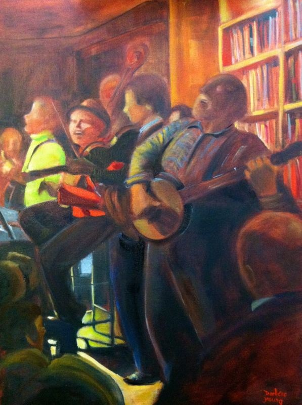 Open Mic, glazing stage original fine art by Darlene Young