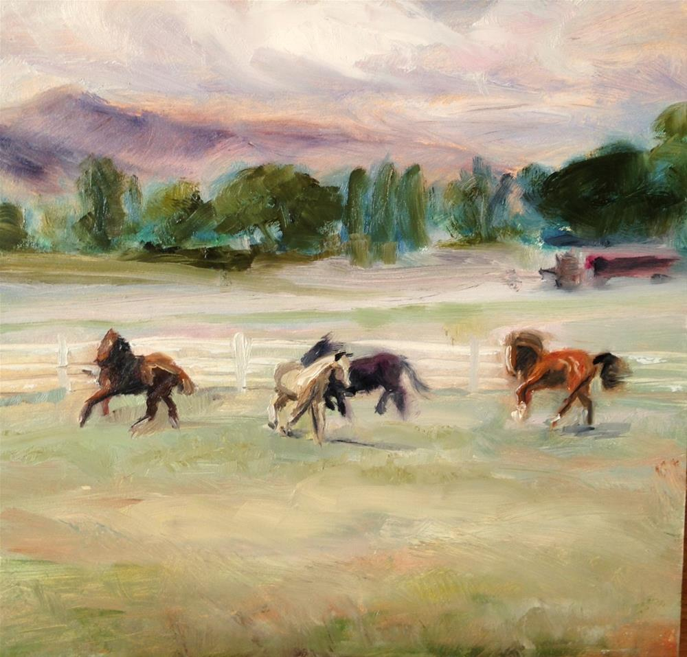 """day 3; dancing horses"" original fine art by Brenda Short"