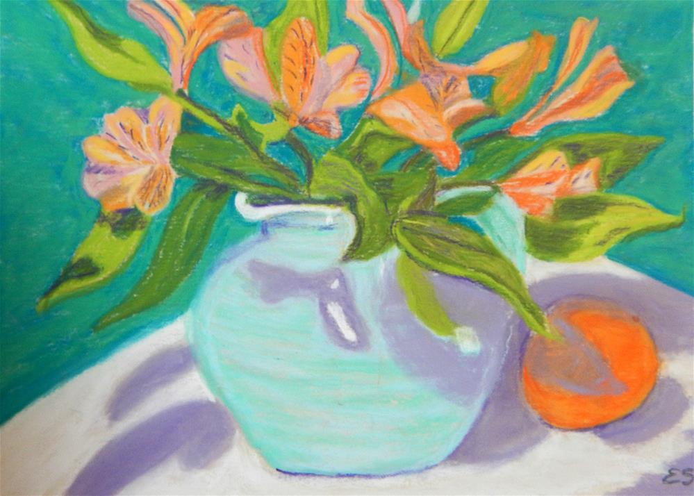 """Freesias with Orange"" original fine art by Elaine Shortall"