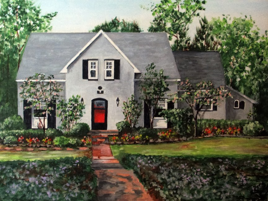 """Springtime Cottage"" original fine art by Nan Johnson"