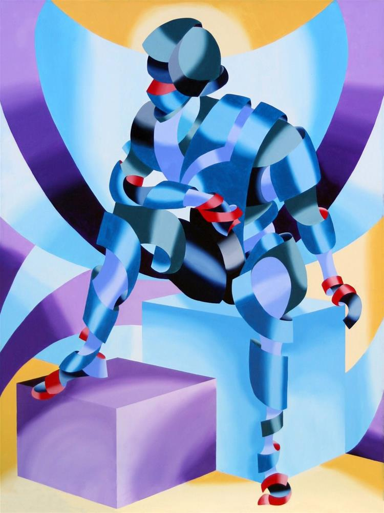 """Mark Webster - Michael - Abstract Geometric Futurist Figurative Oil Painting"" original fine art by Mark Webster"