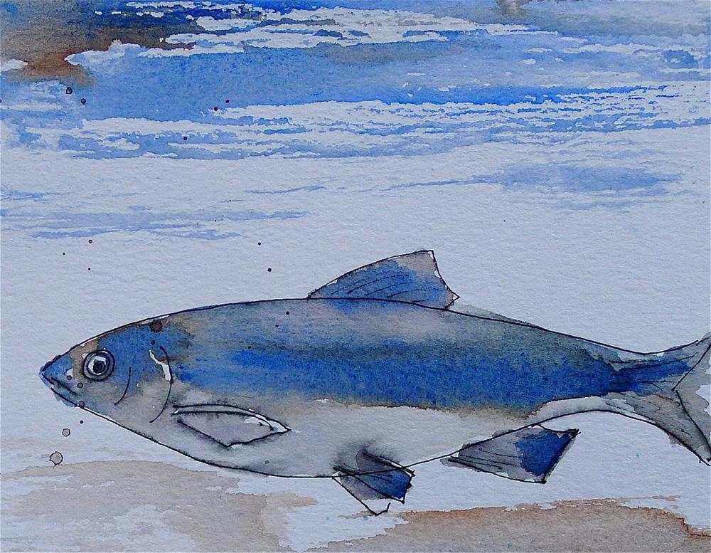 """Blue fish"" original fine art by Ulrike Schmidt"