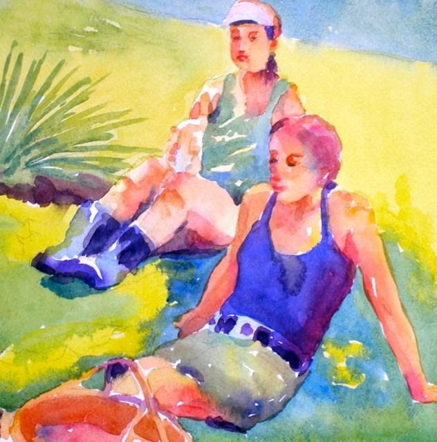 """The gardening gals"" original fine art by Jo MacKenzie"