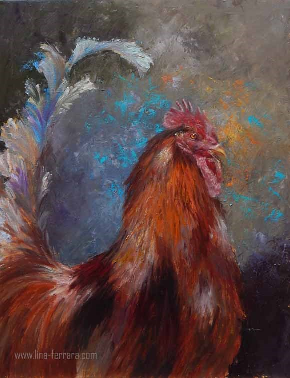"""Rhode Island Red Rooster"" original fine art by Lina Ferrara"