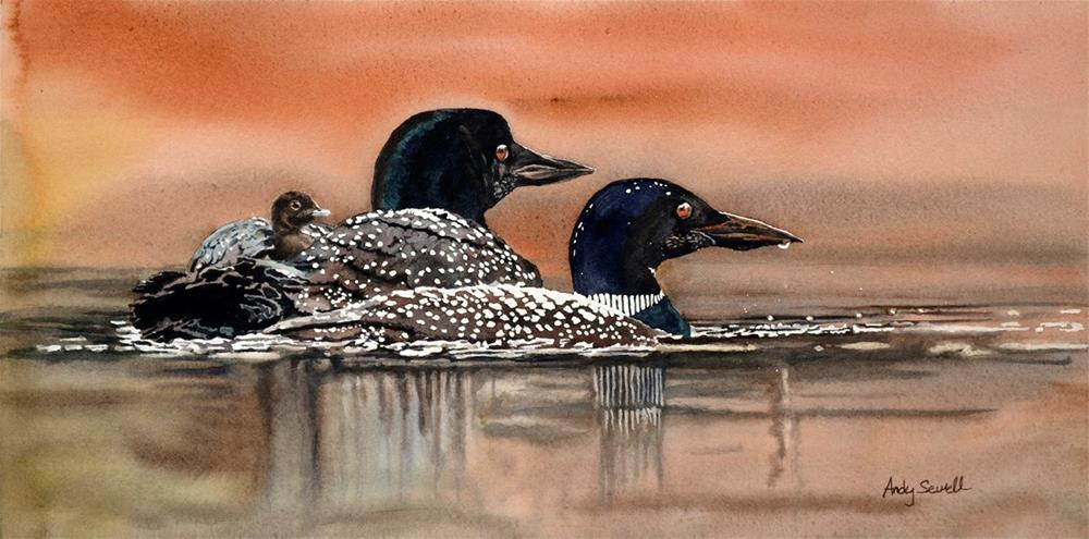 """L is for Loon"" original fine art by Andy Sewell"