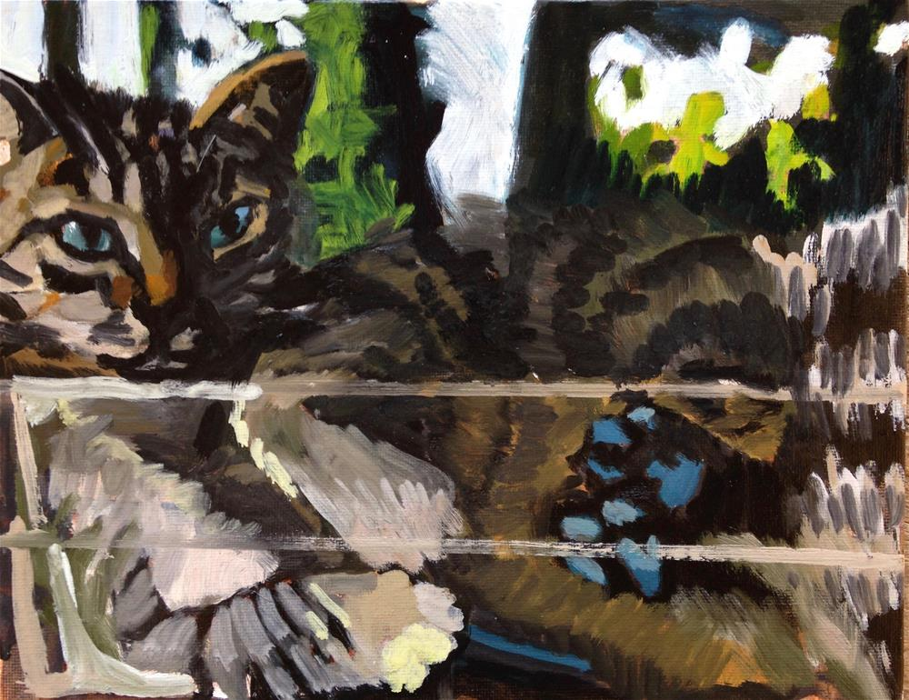 """Give This Cat A Glue Stick"" original fine art by Pamela Hoffmeister"