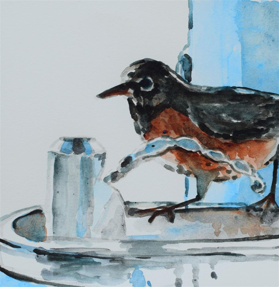 """Stopping By For A Quick Drink"" original fine art by Nancy Brown"