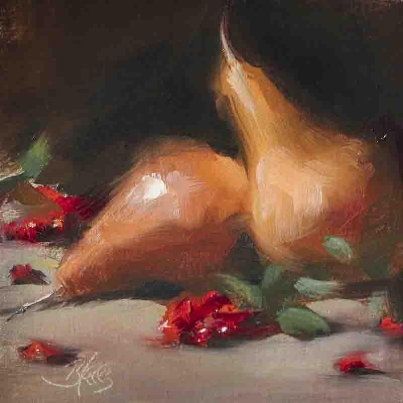 """""""Pears and Winter Berries"""" original fine art by Pamela Blaies"""
