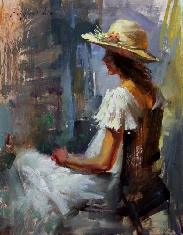 """Girl with hat"" original fine art by Fongwei Liu"