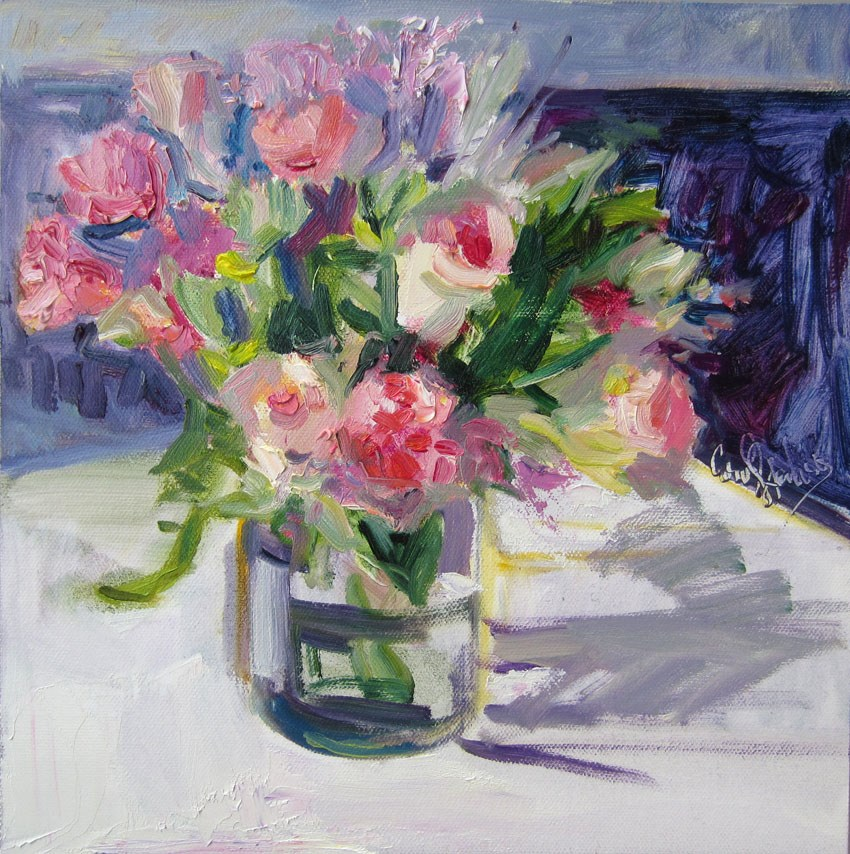 """Pink Roses Posey by the Fireplace"" original fine art by Carol Steinberg"