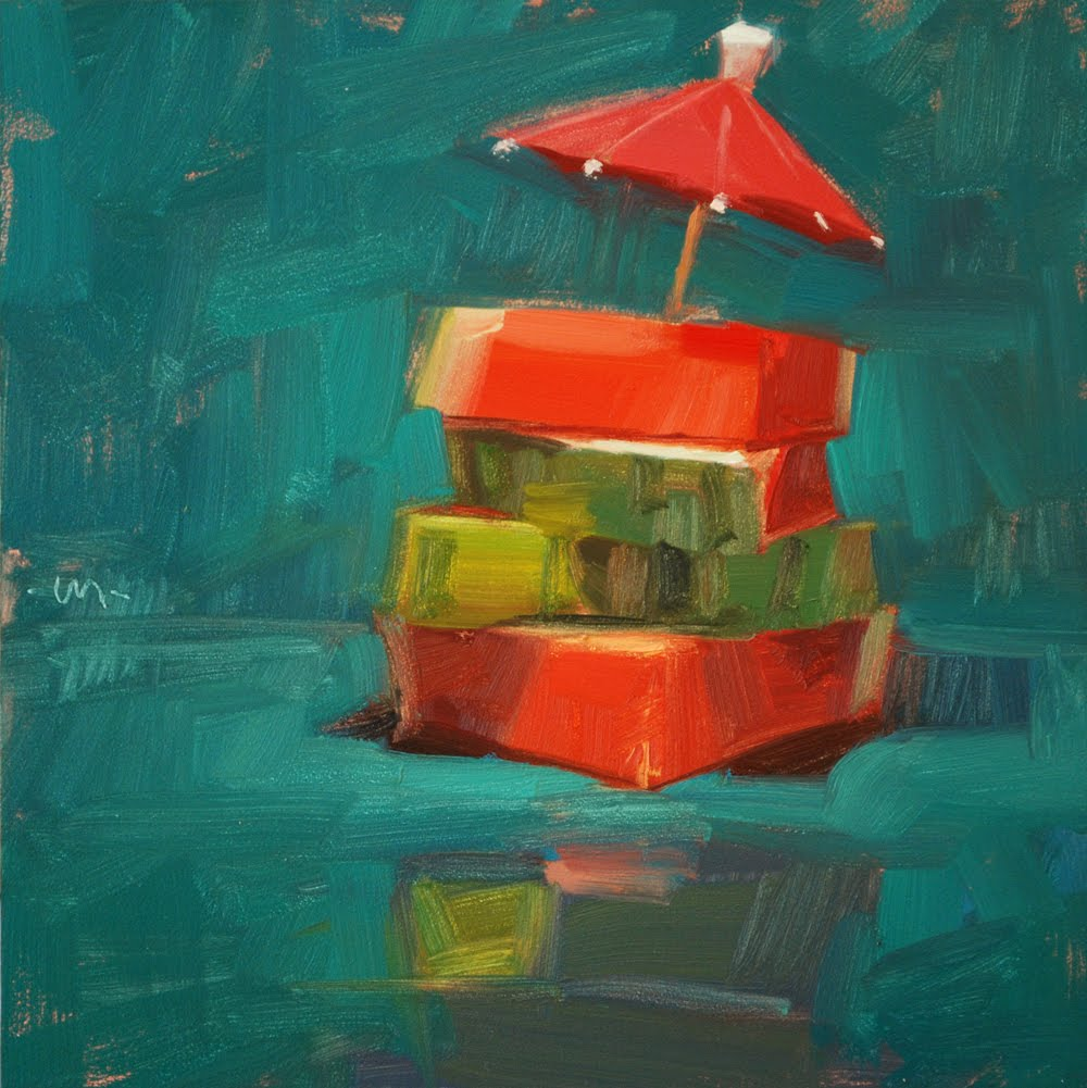 """Summer Stack"" original fine art by Carol Marine"