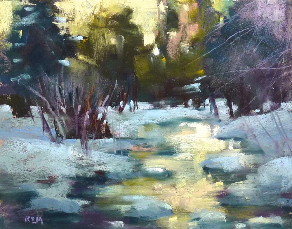 """Pastel Mini Demo ...Winter Stream"" original fine art by Karen Margulis"