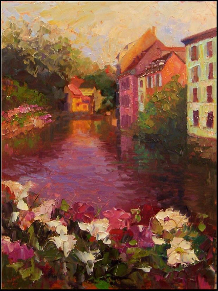 """""""Sur le Pont Couvert, 16x20 oil on linen, paintings of strasbourg, impasto"""" original fine art by Maryanne Jacobsen"""