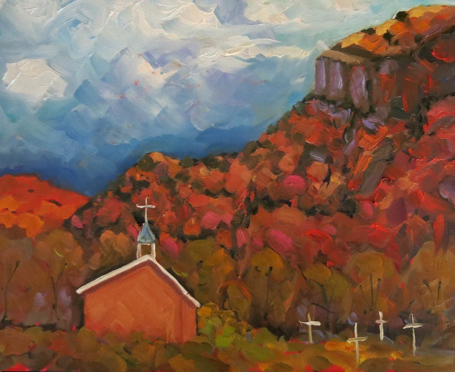 """#135 CLOUDS AT BLACK MESA"" original fine art by Dee Sanchez"