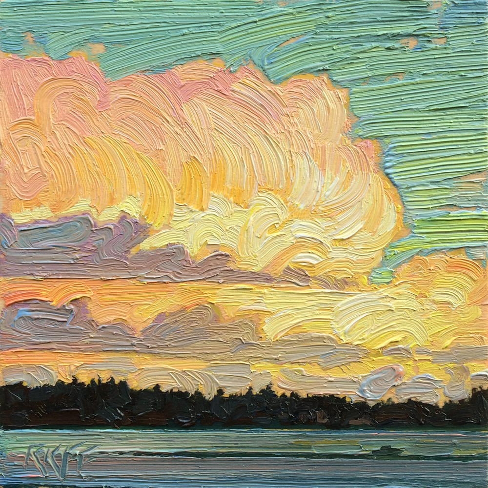 """Evening On The Water: 6x6 oil on panel"" original fine art by Ken Faulks"
