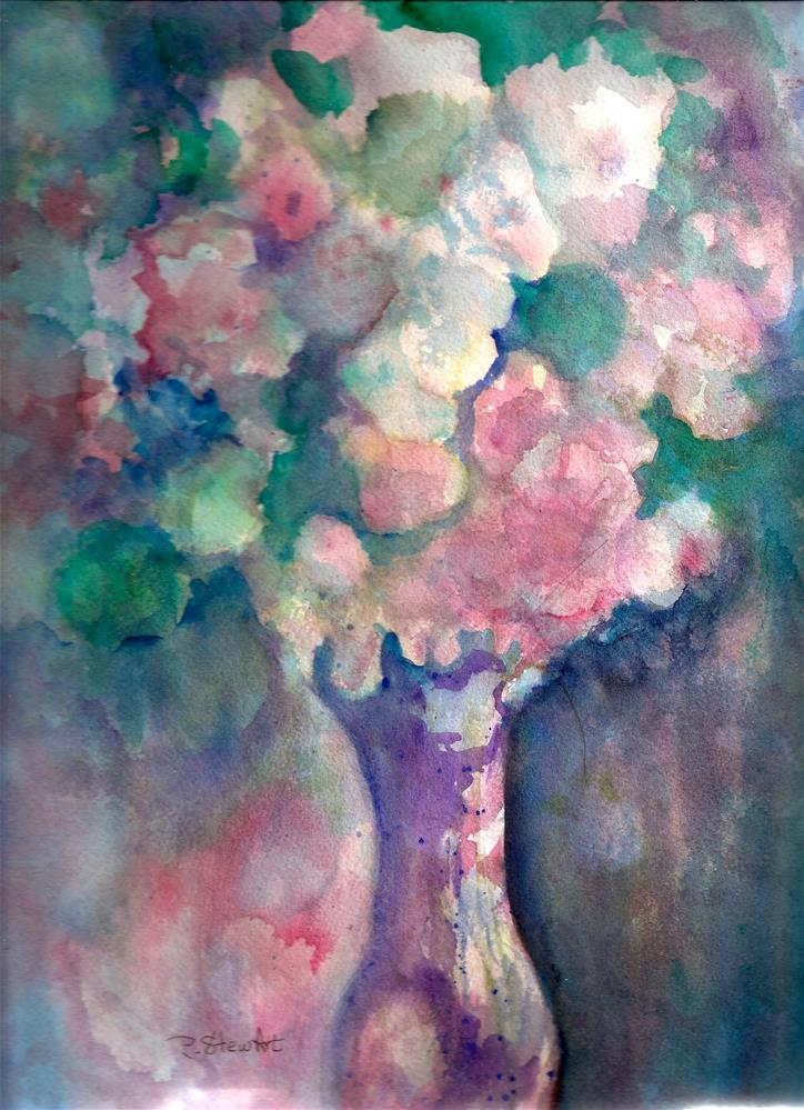 """9x12 Impressionistic Purple Pink Flowers Vase Reflections WC Penny Lee StewArt"" original fine art by Penny Lee StewArt"