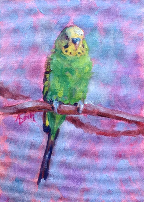"""""""Green and Yellow Parakeet"""" original fine art by Audra Esch"""