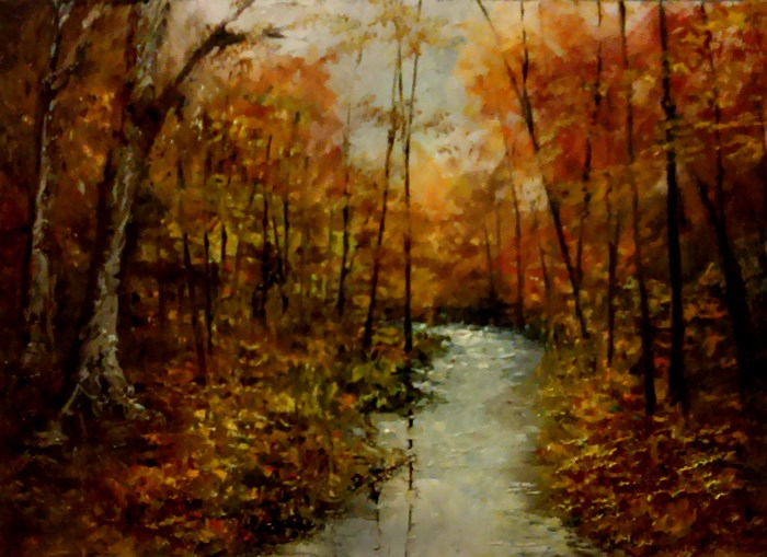 """WInding River in the Woods"" original fine art by Bob Kimball"