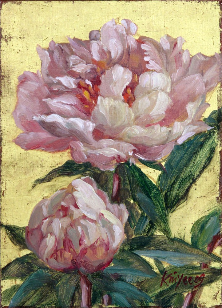 """""""Gilded peonies 2"""" original fine art by Myriam Kin-Yee"""