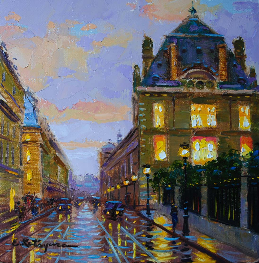"""Twilight in Paris"" original fine art by Elena Katsyura"