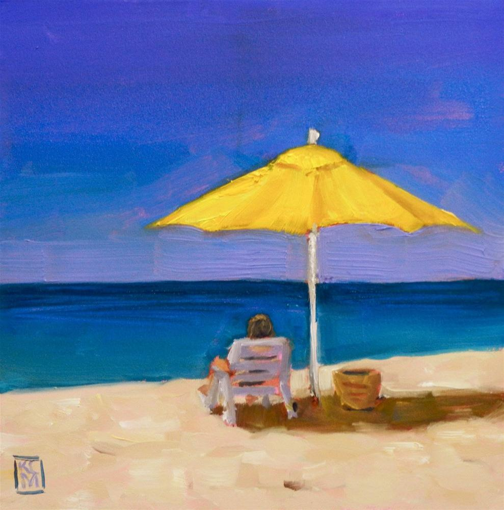 """My Friend Kelly's Beach Day, 6x6 Inches, Oil"" original fine art by Kelley MacDonald"