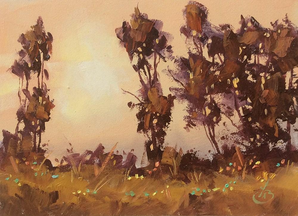 """HAZY SKY AT SUNSET"" original fine art by Tom Brown"