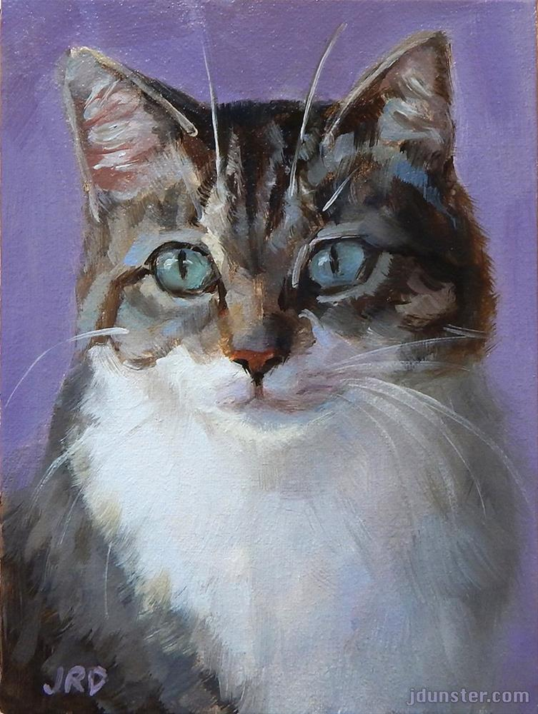 """Big Green Eyes - Cat Head"" original fine art by J. Dunster"